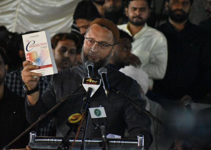 """The PM is """"hell-bent on destroying the Constitution"""", AIMIM ChiefAsaduddin Owaisi said. Photo/Twitter (@aimim_national)"""