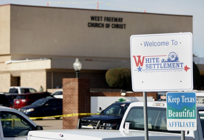 An exterior view of West Freeway Church of Christ where a shooting took place during services on December 29, 2019 in White Settlement, Texas. (AFP Photo)