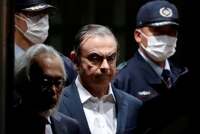 Former Nissan Motor Chariman Carlos Ghosn leaves the Tokyo Detention House in Tokyo. (Reuters Photo)