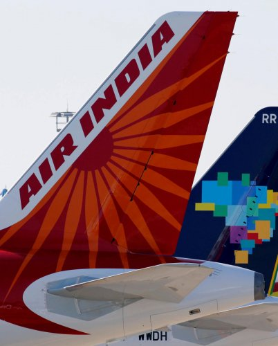 The logo of Air India is pictured on the tail of the passenger aircraft on the tarmac in Colomiers near Toulouse, France, July 10, 2018. (Reuters Photo)