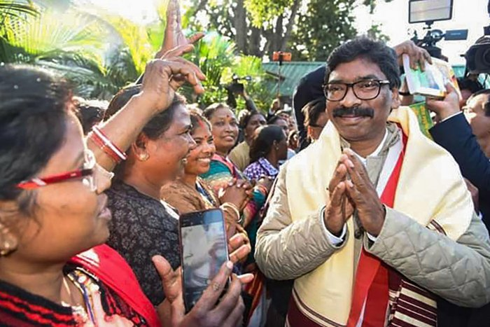 Jharkhand Chief Minister Hemant Soren meets general pubic at his residence in Ranchi