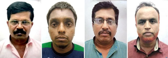 The arrested postal employees, Vijay Rao, Subba, T R Ramesh and Syed Majid. SPECIAL ARRANGEMENT