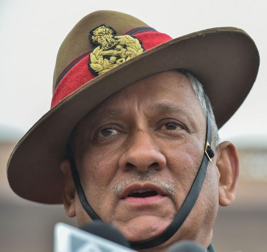 India's first Chief of Defence Staff(CDS) Gen Bipin Rawat addresses media personnel after inspecting the Guard of Honour at South Block lawns in New Delhi, Tuesday, Dec. 31, 2019. (PTI Photo)