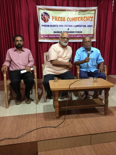 Bhoja Shetty, 77, speaks during a press meet in Udupi.