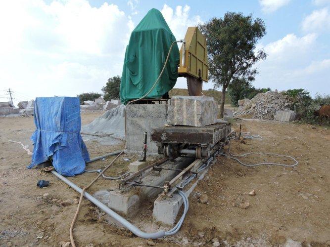 The work on Jesus statue atop Kapala Betta near Kanakapura has come to a halt. dh photo