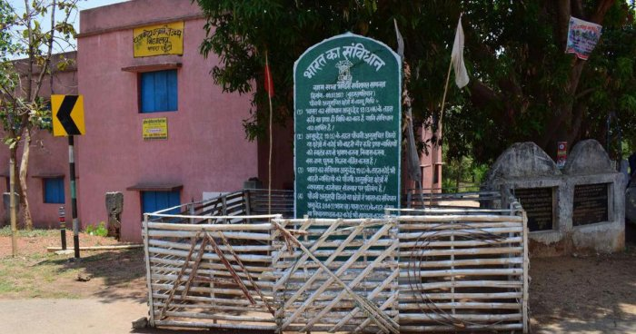 Greenplaques first started springing up at the entrance of nearly 200 villages, most of them centred around the Khunti districtin Jharkhand. Photo/Facebook (rao.masses)