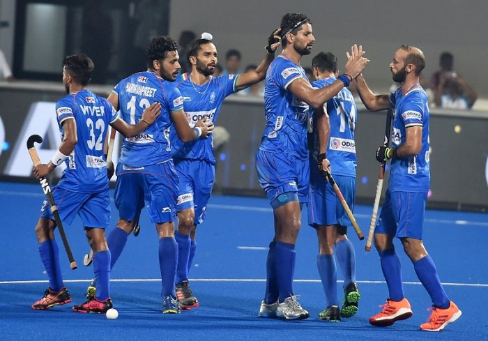 Bhubaneswar: Rupinder Singh (3) of India jubilate with teammates after scoring goal against Russia during FIH Hockey Olympic Qualifiers 2019 (Men), at Kalinga Stadium in Bhubaneswar, Odisha. (PTI Photo)