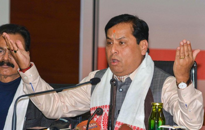 Assam Chief Minister Sarbananda Sonowal addresses a press conference, in Guwahati. PTI