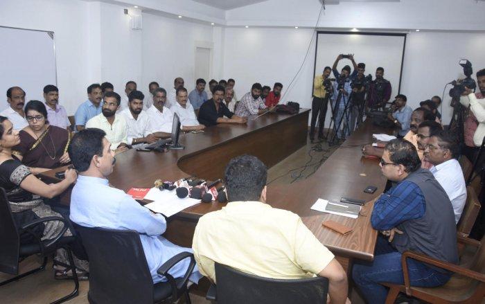 Dakshina Kannada MP Nalin Kumar Kateel chairs a meeting on the Pumpwell flyover work at the deputy commissioner's office in Mangaluru.