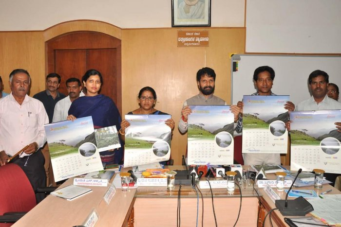 District In-charge Minister C T Ravi releases a calendar brought out by the Tourism Department in Chikkamagaluru on Wednesday.