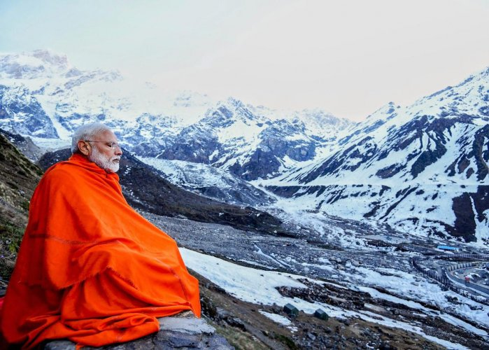 "Prime Minister Narendra Modi during his visit to the Kedarnath valley Saturday, May 18, 2019. ""There is something very special about the Himalayas"", PM Modi has tweeted along with with this picture in his twitter account. (Twitter/PTI Photo)"