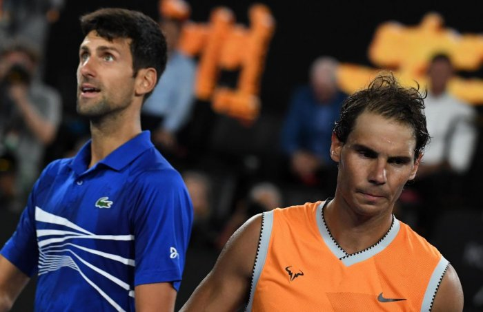 Novak Djokovic and Rafael Nadal. (AFP photo)