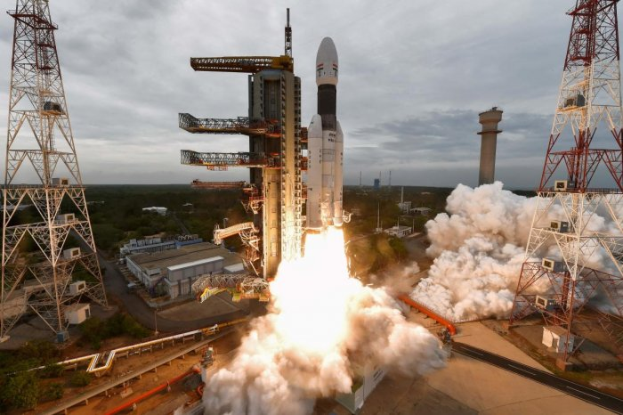 This handout photo taken and released by Indian Space Research Organisation (ISRO) on July 22, 2019 shows Isro's Chandrayaan-2 with on board the Geosynchronous Satellite Launch Vehicle (GSLV-mark III-M1), being launched from the Satish Dhawan Space Centre