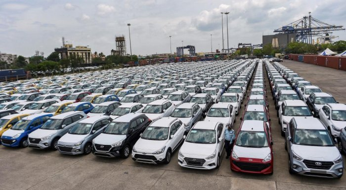 Chennai: In this Friday, Aug 23, 2019, photo cars are seen parked in a dock at the Chennai Port Trust. Automobile sales in India witnessed its worst-ever drop in August with despatches in all segments, including passenger vehicles and two-wheelers, contin