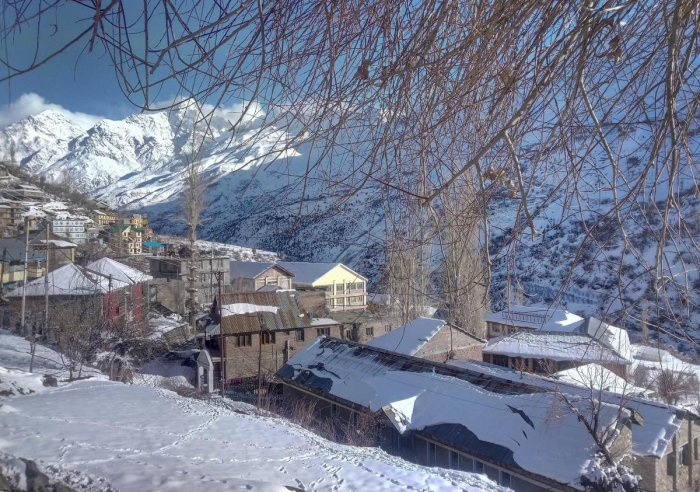 A snow-covered neighbourhood in Lahaul and Spiti district of Himachal Pradesh. PTI FILE