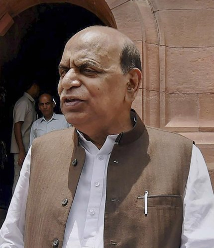 In this July 2016 file photo, senior NCP leader & former MP, DP Tripathi at Parliament house in New Delhi. Tripathi passed away on Thursday, Jan. 2 , 2020 after a prolonged period of illness. (PTI Photo)