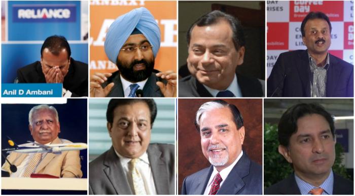 (Left to Right) Anil Ambani, Malvinder Singh, Shashikant Ruia, VG Siddhartha, Naresh Goyal, Rana Kapoor, Subhash Chandra and Gautam Thapar.