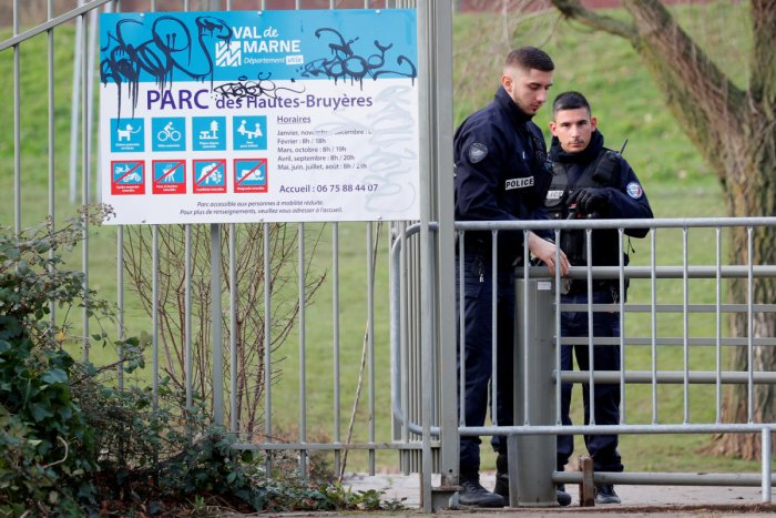 French police secure an area after a knife attack in a public park in Villejuif. Reuters