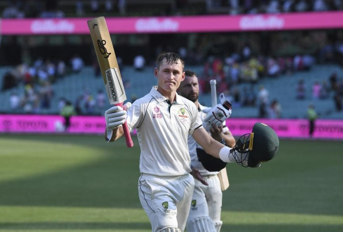 Australia's Marnus Labuschagne on 130 not out at the end of play on day 1 of the third cricket test match between Australia and New Zealand at the Sydney Cricket Ground, Sydney. (AP/PTI)