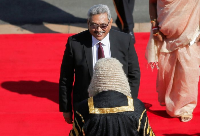 Sri Lankan President Gotabaya Rajapaksa arrives to deliver his speech at parliament