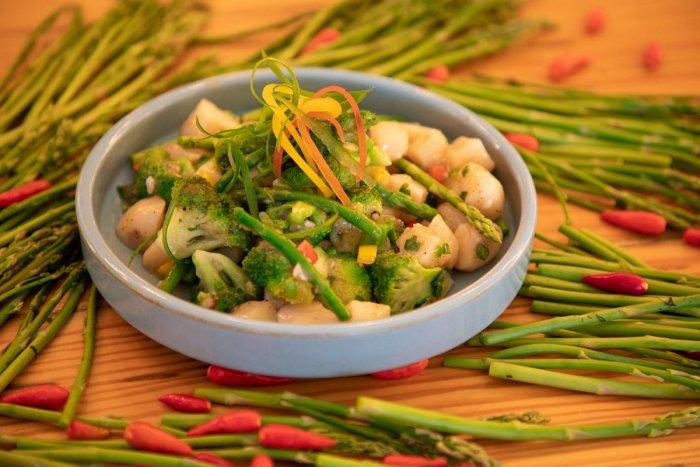 Asparagus, Chestnuts and Broccoli salad.