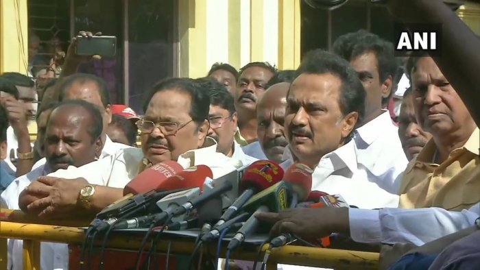 The day witnessed dramatic developments as DMK President M K Stalin rushed to meet State Election Commissioner Dr R Palaniswamy seeking announcement of results fast in areas where counting was over and even threatening to sit on a fast if results are not announced on time.