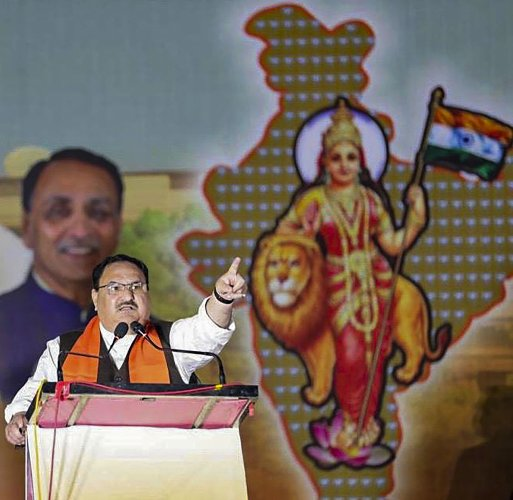 BJP National Working President Jagat Prakash Nadda address on CAA at Swaminarayan Temple Karelibaug. (PTI Photo)