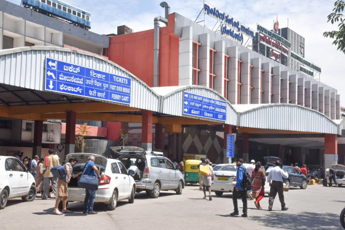 A view of the Krantivira Sangolli Rayanna station. DH Photo