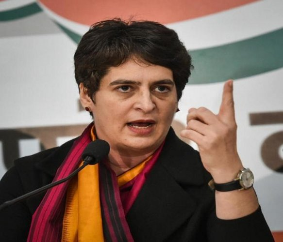 AICC general secretary Priyanka Gandhi Vadra addresses a press conference at the party office in Lucknow, Monday, Dec. 30, 2019. (PTI Photo/Nand Kumar)