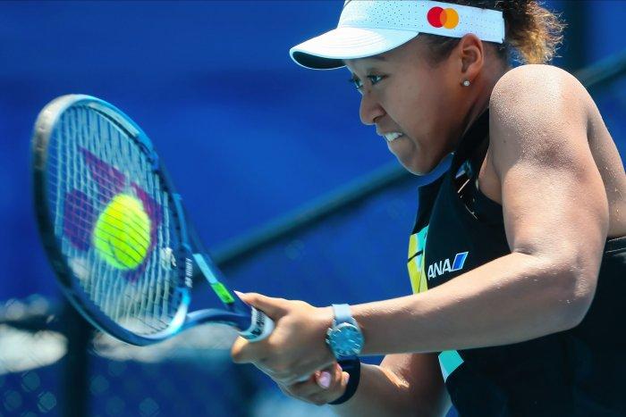 Naomi Osaka of Japan trains ahead of the 2020 Brisbane International tennis tournament at Pat Rafter Arena in Brisbane. (AFP Photo)