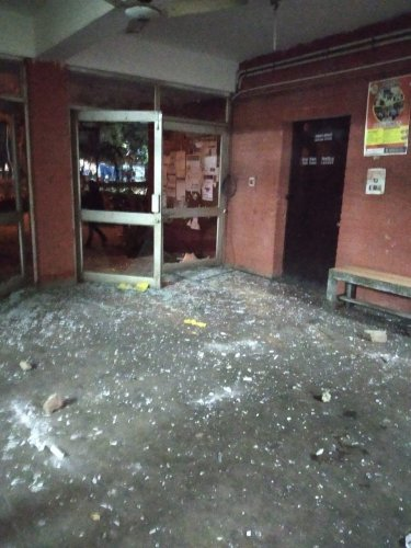 """The Akhil Bharatiya Vidyarthi Parishad (ABVP) alleged that its members were """"brutally"""" attacked by students affiliated to Left student organisations SFI, AISA and the DSF. Photo/PTI (@abvpjnu)"""