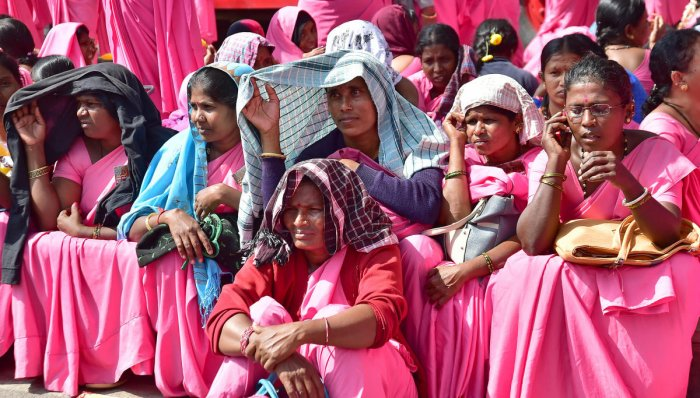 Asha workers have been on an indefinite protest since Friday. Among the demands was that they must be paid adequately if involved in gathering data for surveys or be exempted from the duty.