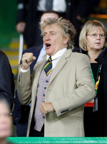 Rod Stewart reacts in the stands during a football match. (Reuters Photo)