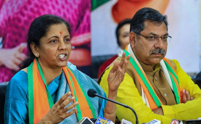 Union Finance Minister Nirmala Sitaraman with Rajasthan BJP President Satish Poonia addresses media during a press conference over the launch of 'Jan Jagran Campaign' in support of CAA , at BJP office in Jaipur, Jan. 5 , 2020. (PTI Photo