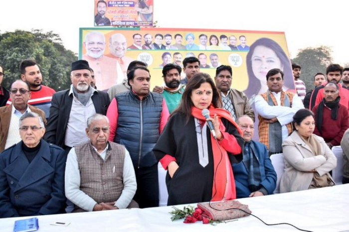 """BJP leader Meenakshi Lekhi said that in the wake of Nankana Saheb incidence, """"questioning CAA appears motivated and amounts to denying the history of atrocities and persecution of non believers."""" Photo/Twitter (@M_Lekhi)"""
