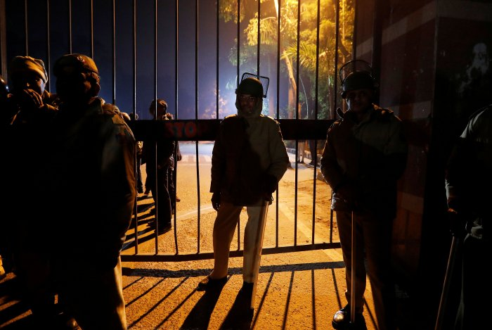 At least 28 people, including JNU Students' Union president Aishe Ghosh, were injured as chaos reigned on the campus for nearly two hours. (Reuters Photo)