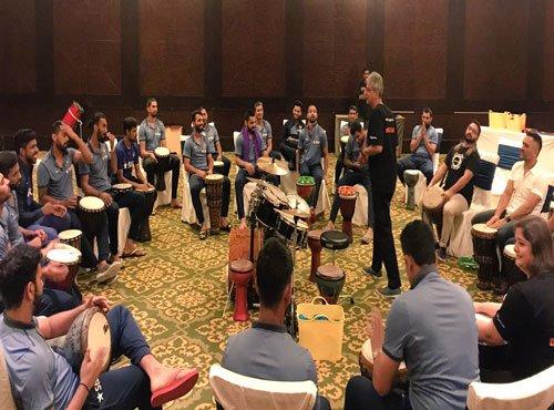 Bonding over Music: Kohli & Co jam over drums with Vasundhara