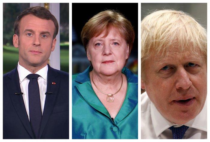 French President Emmanuel Macron, German Chancellor Angela Merkel, British Prime Minister Boris Johnson. (Photo/Agencies)