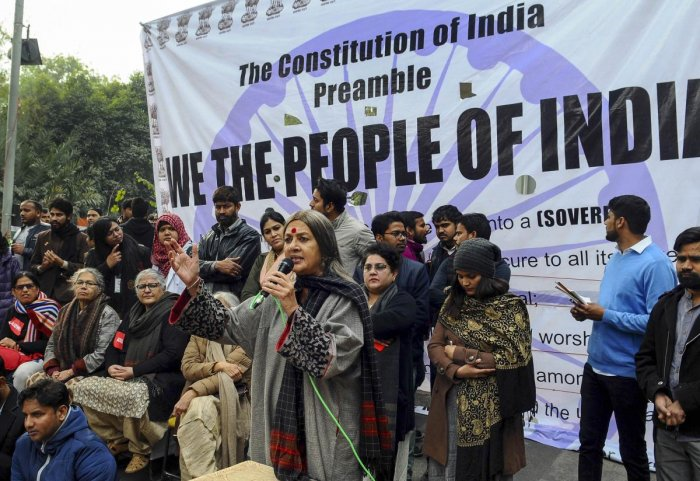 enior Communist Party of India-Marxist (CPI-M) leader Brinda Karat speaks during a protest against the Citizenship Amendment Act (CAA), outside the Jamia Millia Islamia University. PTI
