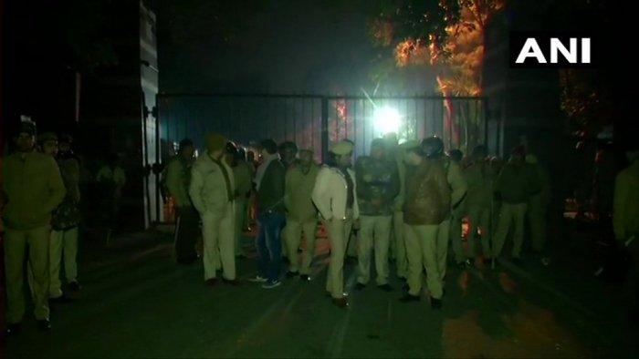 Heavy police presence at the main gate of Jawaharlal Nehru University. (ANI photo)