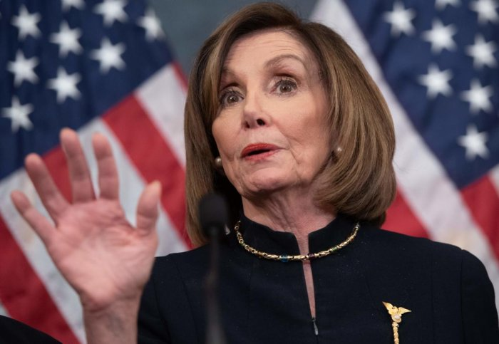 In this file photo taken on December 18, 2019 US Speaker of the House Nancy Pelosi holds a press conference after the House passed Resolution 755, Articles of Impeachment Against President Donald J. Trump, at the US Capitol in Washington, DC. (AFP Photo)