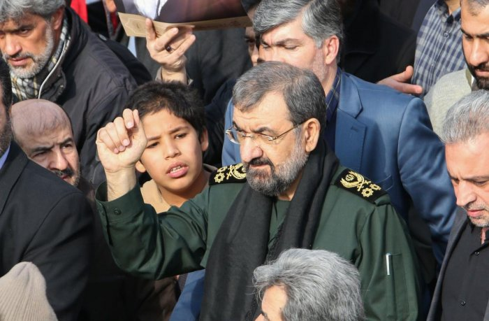 Iranian former chief of the Revolutionary Guards Mohsen Rezai takes part in a demonstration against American crimes in the capital Tehran on January 3, 2020 following the killing of Iranian Revolutionary Guards Major General Qasem Soleimani in a US strike
