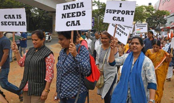People in support of CAA march from Raghuvanahalli, Kanakapura Road in Bengaluru on Wednesday. | DH Photo: Pushkar V