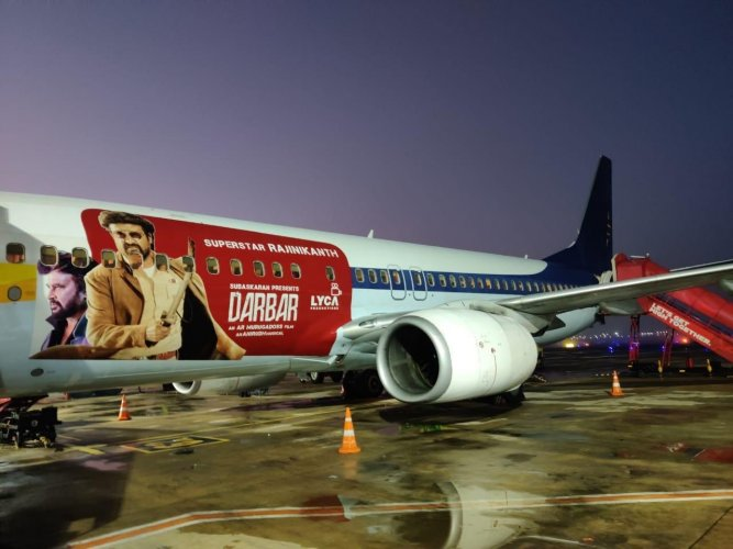 A SpiceJet aircraft with Darbar livery as part of branding for the Rajinikanth-starrer movie. (Credit: Twitter)