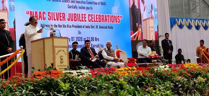 Vice President Venkaiah Naidu at the silver jubilee celebration of National Assessment and Accreditation Council (NAAC) at Raj Bhavan in Bengaluru. (DH photo/Shivakumar BH)