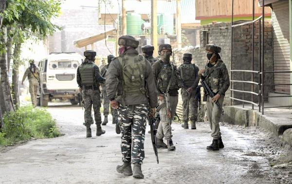 Army soldiers near the site of an encounter, in which one militant was killed, in Kanipora on the outskirts of Srinagar, Friday, June 28, 2019. (PTI Photo)