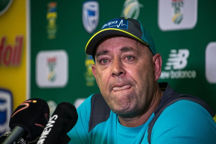 Darren Lehmann speaks to the press as he announces he will resign as Australian cricket coach after the coming Test match on March 29, 2018 in Johannesburg. (AFP Photo)