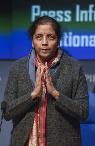 Financial Minister Nirmala Sitharaman during a press conference regarding the launch of the national infrastructure pipeline. (PTI Photo)
