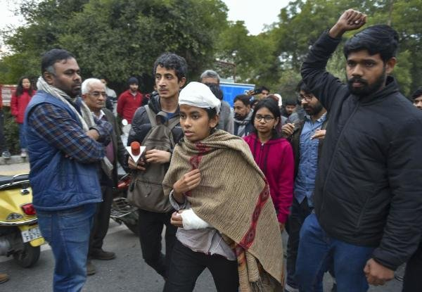 JNU student union (JNUSU) President Aishe Ghosh leaves after speaking during a press conference in New Delhi, Monday, Jan. 6, 2020. (PTI photo)