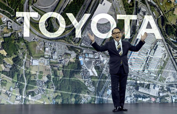 Toyota Motor Corporation President and CEO Akio Toyoda speaks during a Toyota press event for CES 2020. (Photo Credit: AFP)